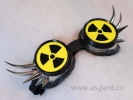 Cybergoggle with spikes neon yellow atom sign