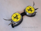 Cybergoggle with spikes neon yellow biohazard